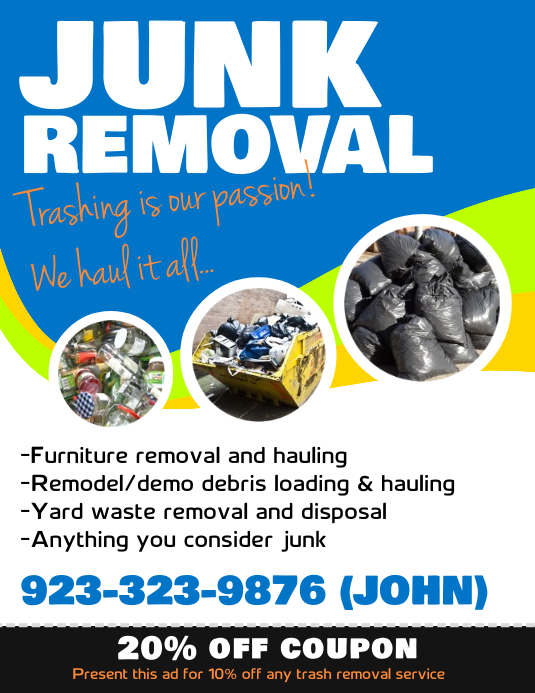 Junk Removal Service Flyer Template PosterMyWall