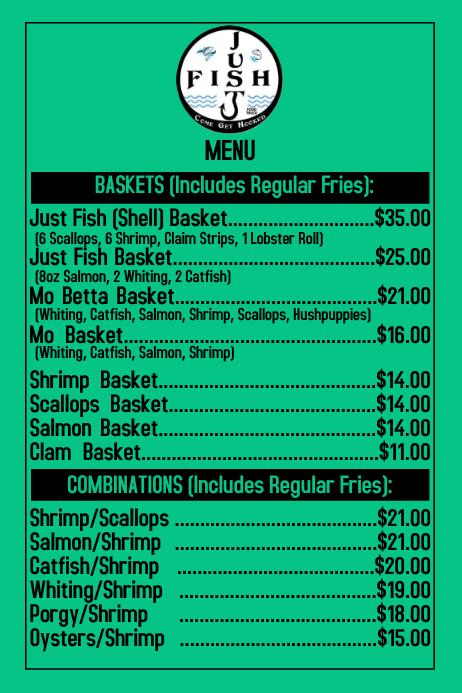 Just Fish Front Menu Label template