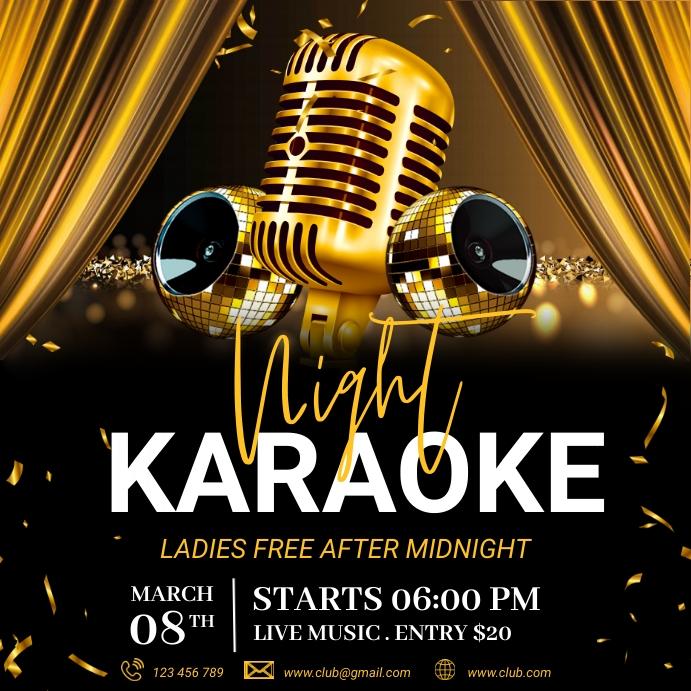 Karaoke, Karaoke flyer, Karaoke Night, jazz Сообщение Instagram template