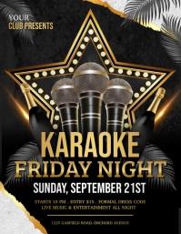 karaoke, karaoke night, karaoke party Volante (Carta US) template