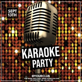 Karaoke, Karaoke posters, Karaoke Night, jazz Square (1:1) template