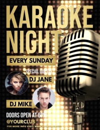 Karaoke, Karaoke video, Karaoke Night, jazz Volantino (US Letter) template