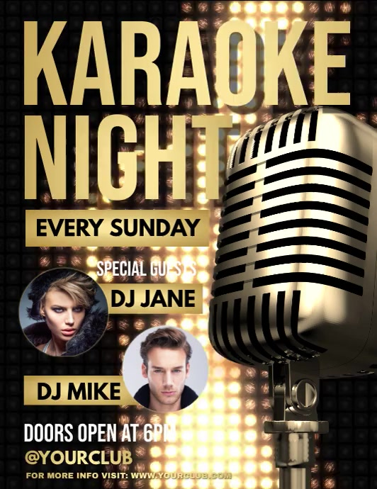 Karaoke, Karaoke video, Karaoke Night, jazz Folheto (US Letter) template