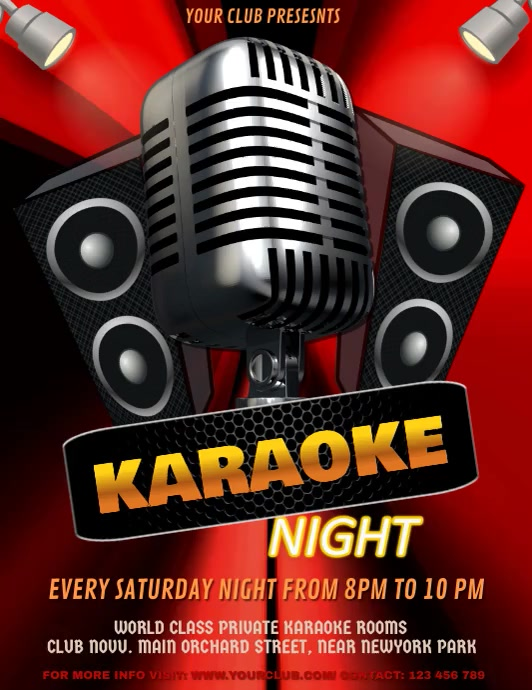 Karaoke, Karaoke Video, Karaoke Night, Jazz Night, Concert ใบปลิว (US Letter) template