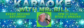 KARAOKE BANNER with Blue & Teal Disco Mirror Background