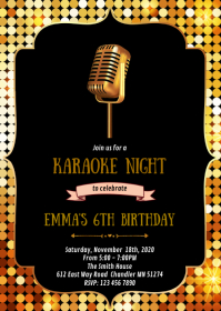 Karaoke birthday party invitation