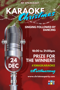 Karaoke Christmas Party Poster template