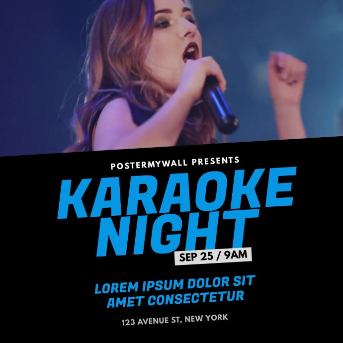 karaoke concert singing event video template Quadrado (1:1)