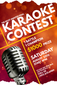 Karaoke Contest Poster Template  Competition Flyer Template
