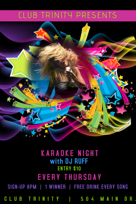 DJ Club Karaoke Event Flyer Poster