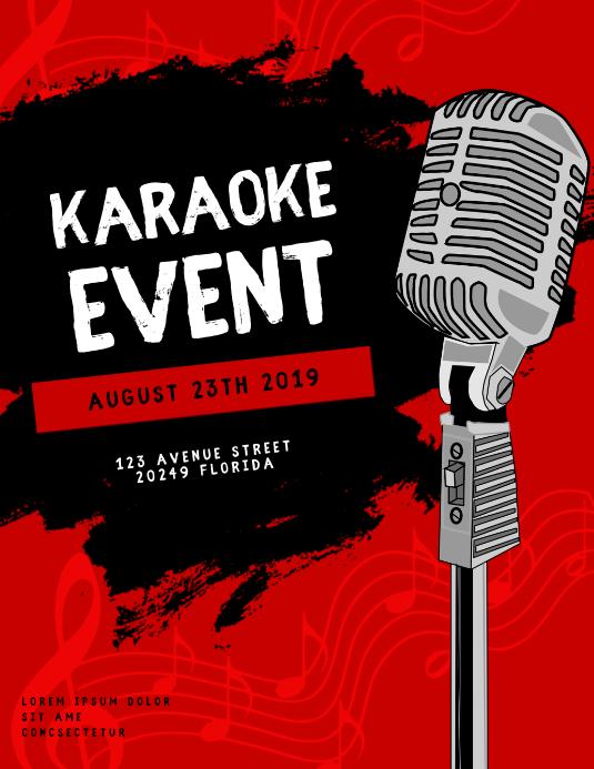 Karaoke Event Flyer Template Folheto (US Letter)