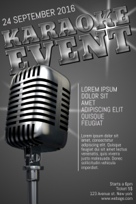 Karaoke event poster template silver