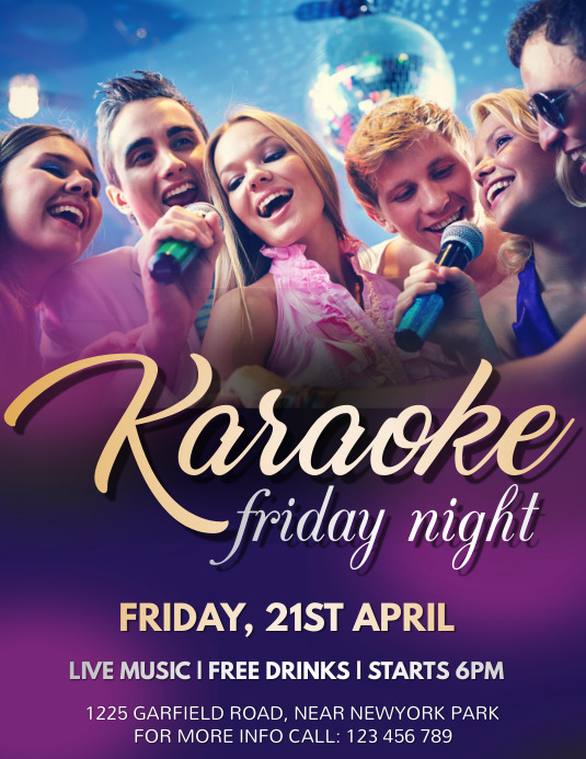 Karaoke Flyer, Karaoke, Music Night, Jazz Nig ใบปลิว (US Letter) template