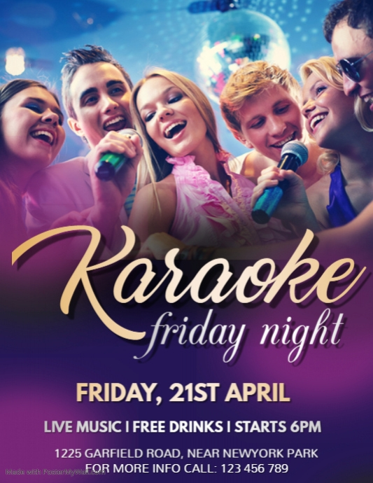 Karaoke Flyer, Karaoke, Music Night, Jazz Night