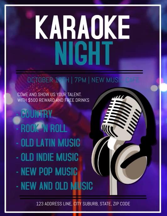 Karaoke Flyer VIDEO DIGITAL AD Template Folder (US Letter)