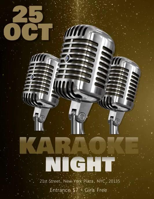 Karaoke Flyer VIDEO DIGITAL Template Volante (Carta US)