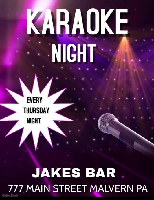 KARAOKE KARAOKE NIGHT BAR EVENT Volante (Carta US) template