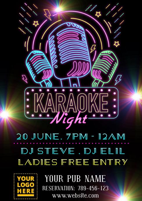 Karaoke neon light design A4 template