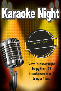 Karaoke Night Bar Club Flyer Poster Template Band Concert