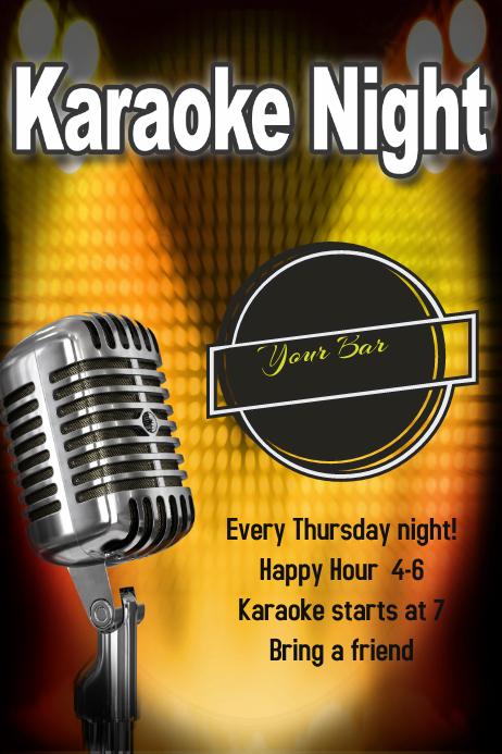 Karaoke Night Bar Club Flyer Poster Template Band Concert