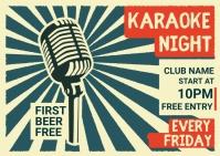 karaoke night Postcard template