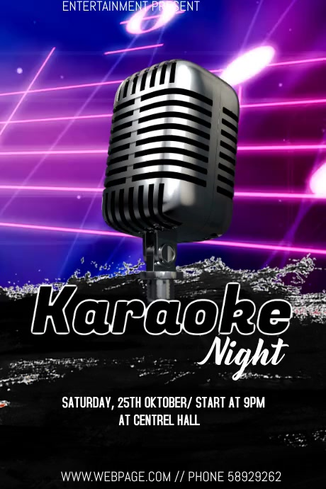 Karaoke night event flyer Póster template