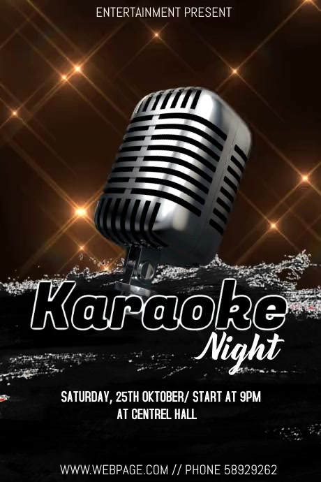 Karaoke night event flyer Plakat template
