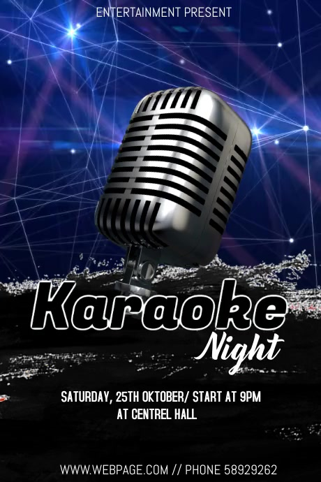 Karaoke night event flyer โปสเตอร์ template