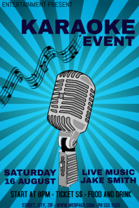 Karaoke night event flyer template