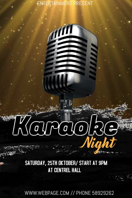 Karaoke night event video flyer template 海报