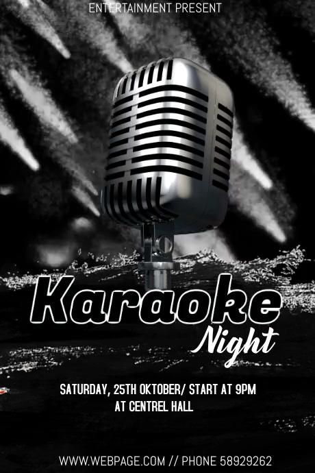Karaoke night event video flyer template โปสเตอร์