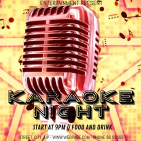 karaoke night event video flyer template Square (1:1)
