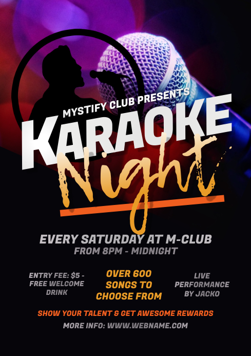 Karaoke Night Flyer A4 template