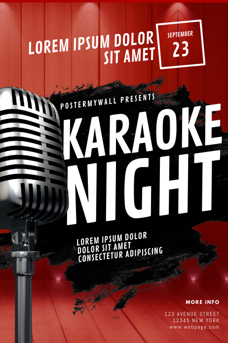 Karaoke Night Flyer Template โปสเตอร์