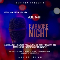 Karaoke Night Instagram Square Template Wpis na Instagrama