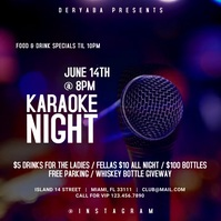 Karaoke Night Instagram Square Video Template Kwadrat (1:1)