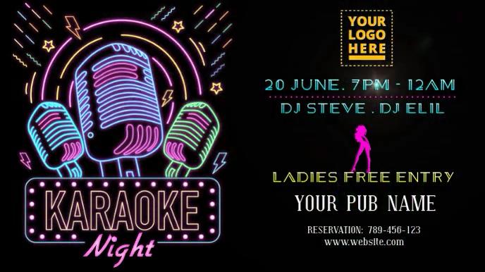 Karaoke night neon light design Digitalt display (16:9) template