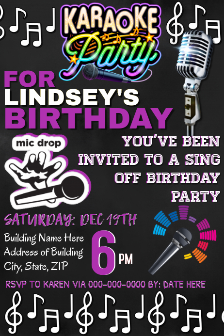 Karaoke Night Party Invitation Template Postermywall