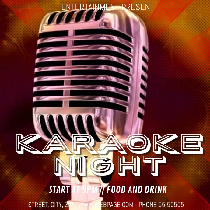 karaoke night party video flyer template