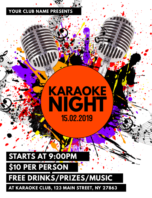 Karaoke Night Flyer Template | PosterMyWall | 533 x 690 jpeg 172kB