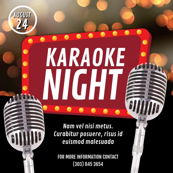Karaoke Night Video Ad Сообщение Instagram template