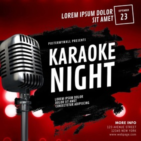 Karaoke Night Video Ad Design Template Publicação no Instagram