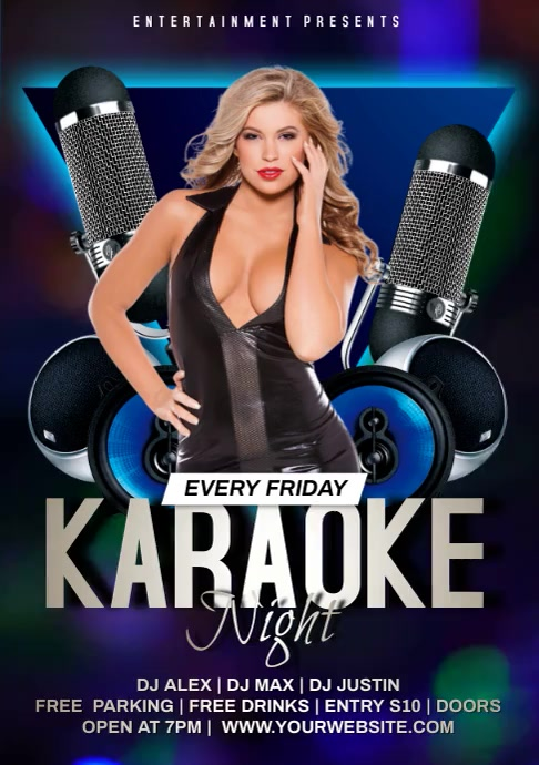 karaoke night video poster A4 template