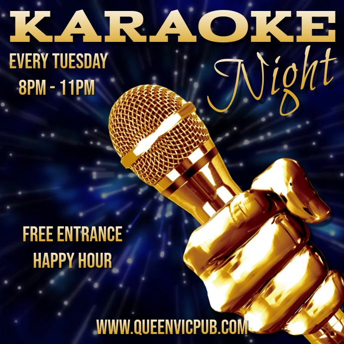 Karaoke Night Video Template 方形(1:1)