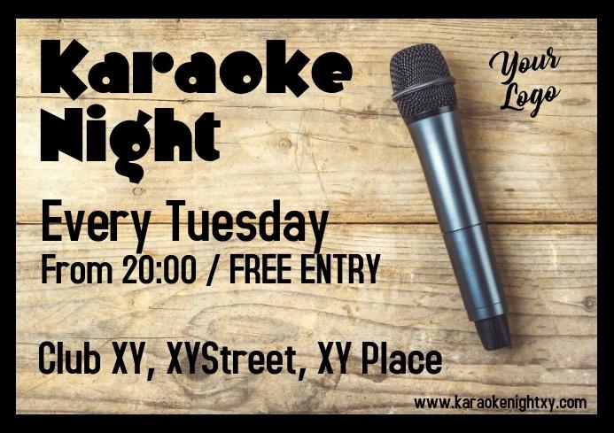 Karaoke Night Wood Table