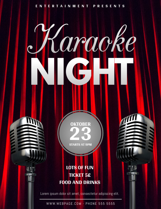 Awesome Karaoke Or Comedy Night Flyer Template
