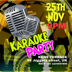 Karaoke party event square flyer