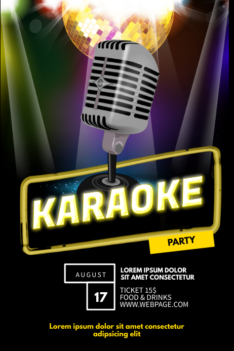 Karaoke Party Flyer Template
