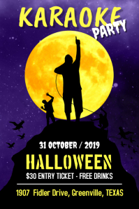 Karaoke Party Halloween Poster template