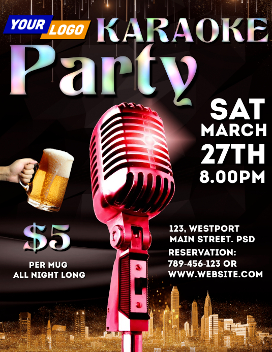 Karaoke party template Pamflet (Letter AS)